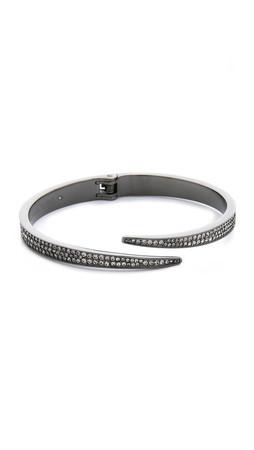 Michael Kors Pave Matchstick Hinge Bangle Bracelet - Gunmetal/Black