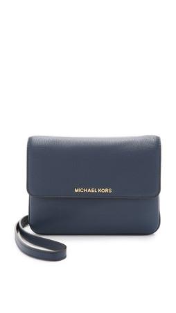 Michael Michael Kors Bedford Double Gusset Cross Body Bag - Navy