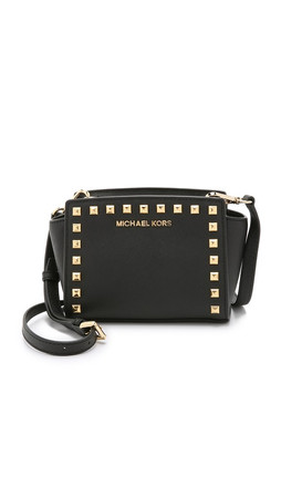 Michael Michael Kors Selma Stud Mini Messenger Bag - Black