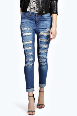 Mid Rise Slashed Leg Super Skinny Jeans blue