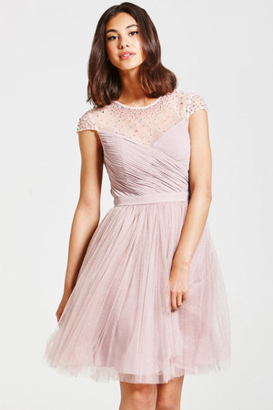 Mink Beaded Prom Dress