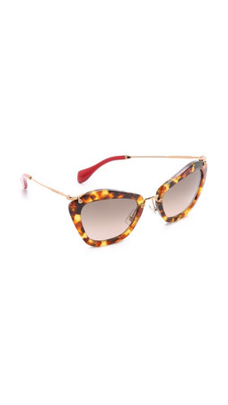 Miu Miu Cat Eye Sunglasses - Light Havana/Brown Gradient