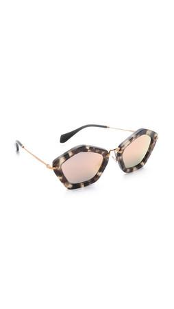 Miu Miu Geometric Sunglasses - Beige Tortoise/Rose Mirror