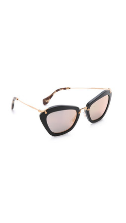 Miu Miu Matte Cat Eye Sunglasses - Matte Black/Rose Gold Mirror