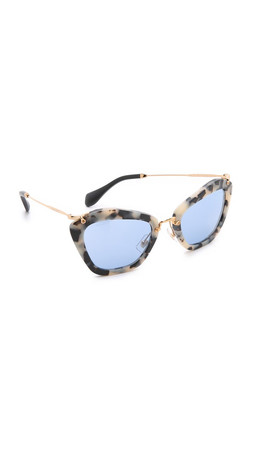 Miu Miu Matte Cat Eye Sunglasses - Matte Havana/Light Blue Mirror