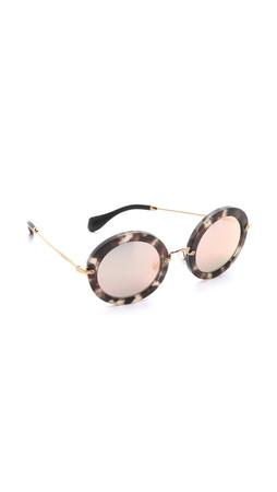 Miu Miu Round Sunglasses - Beige Tortoise/Rose Mirror