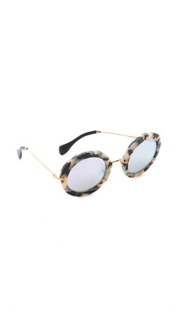 Miu Miu Round Sunglasses - Dark Havana/Grey Blue Mirror