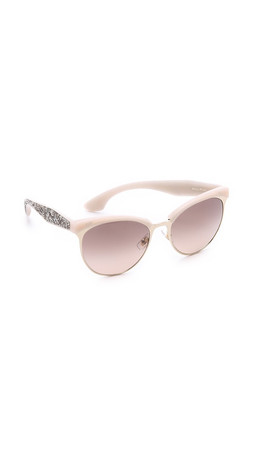 Miu Miu Top Rim Sunglasses - Beige Mix/Brown Gradient