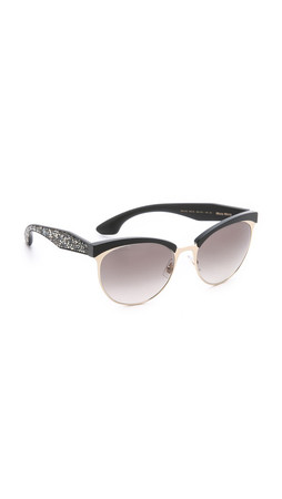 Miu Miu Top Rim Sunglasses - Gold Black/Grey Gradient