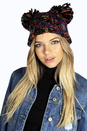 Mixed Yarn Pom Pom Beanie Hat multi