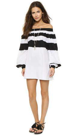 Mlm Label Afar Off Shoulder Mini Dress - Black/White