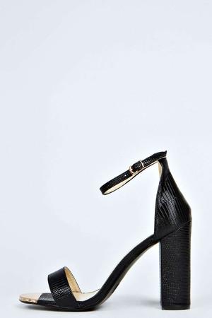 Mock Croc Ankle Strap peep Toe Block Heels black