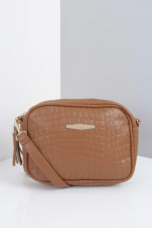 Mock Croc Box Cross Body Bag tan
