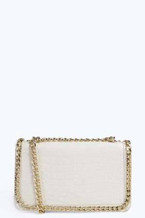 Mock Croc Chain Detail Cross Body Bag cream
