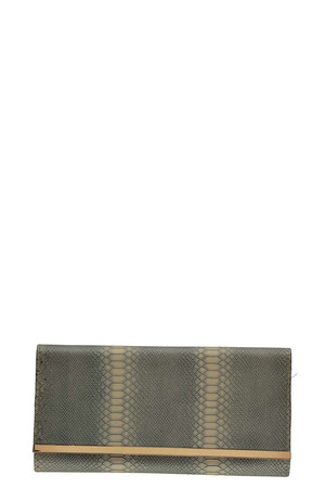 Mock Croc Metal Bar Clutch Bag grey
