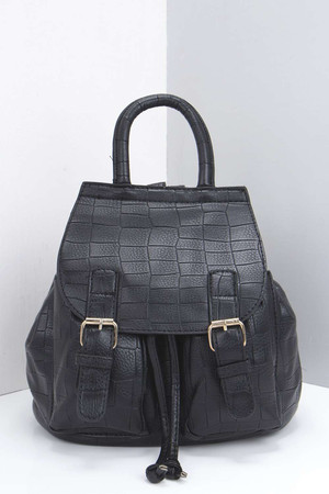 Mock Croc Structured Back Pack black