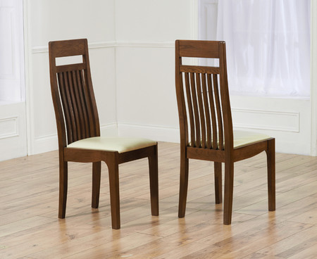 Monaco Cream Dark Solid Oak Dining Chairs