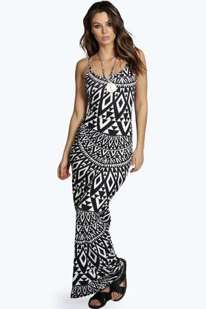 Monochrome Low Back Maxi Dress multi