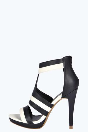 Monochrome Strappy Platform Heel black