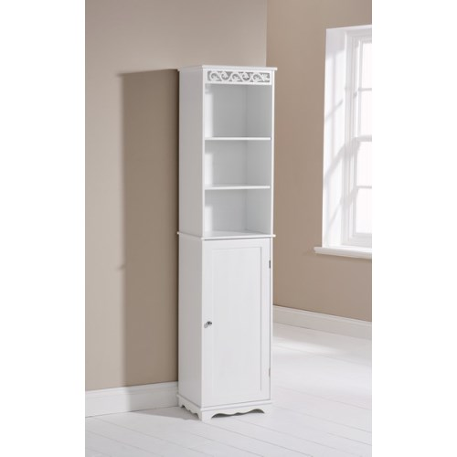mountrose scroll tall bathroom cabinet in white  best buy, bathroom armoire uk, bathroom cupboard uk, bathroom etagere uk