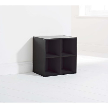 Mountrose Storage Cube With 4 Shelves In Black Oak