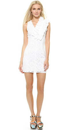 Msgm Lace V Neck Dress - White