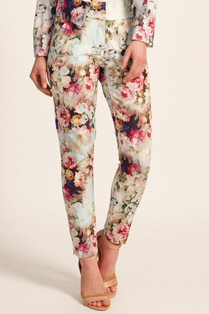 Multi Colour Floral Waffle High Waisted Trousers