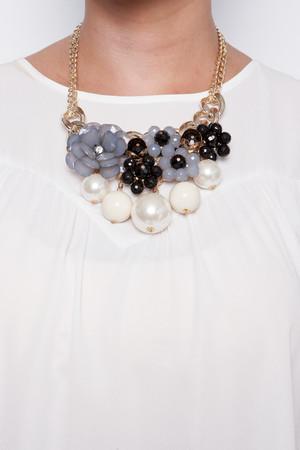 Nancy Black Floral Pearl Necklace