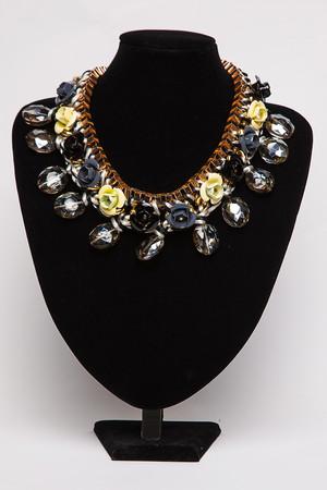 Nancy Black & Grey Floral Gem Necklace