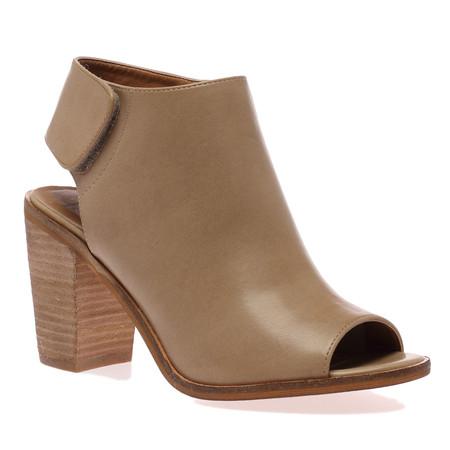 Natalie Beige Block Heel Peeptoe Boots