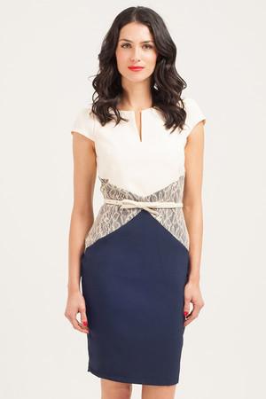 Navy & Cream Lace Panel Bodycon Dress