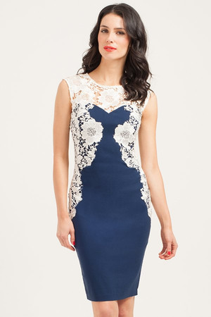 Navy & Cream Mirrored Lace Bodycon Dress
