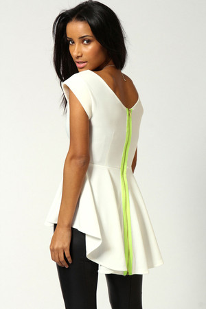 Neon Zip Back Peplum Top cream