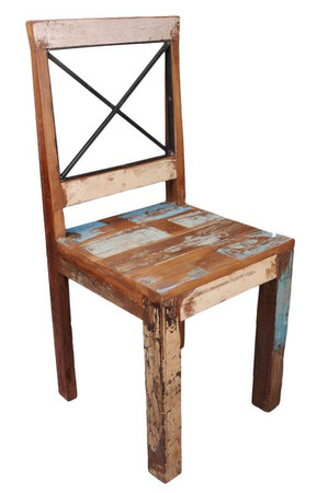 New England Cross Back Reclaimed Dining Chairs (Pairs)