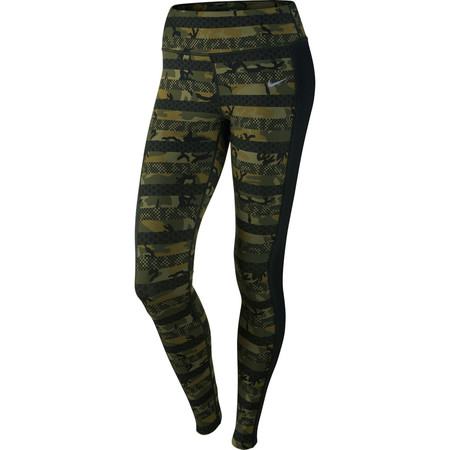 Nike Women's Clash Epic Lux Tight (HO15) - Small Green/Black/Silver