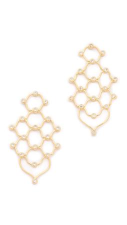 Noir Jewelry Escher Earrings - Gold/Clear