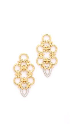 Noir Jewelry Gabriella Statement Earrings - Gold/Clear