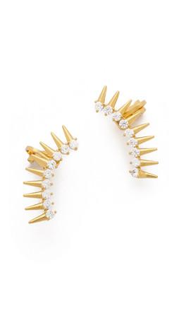 Noir Jewelry Jasper Ear Crawlers - Gold/Clear