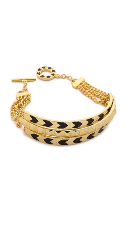 Noir Jewelry Multi Path Bracelet - Gold/Black