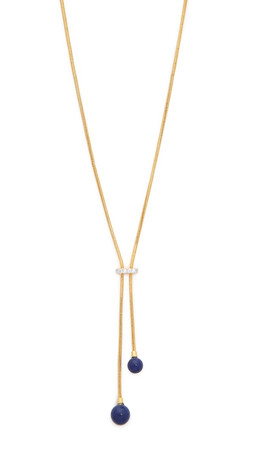 Noir Jewelry Stone Lariat Necklace - Lapis/Gold