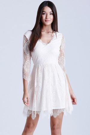Nude Eyelash Lace Dress