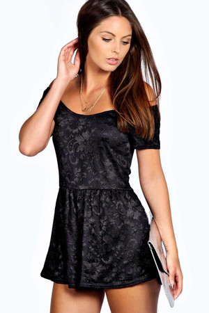 Off The Shoulder All Over Lace Playsuit black