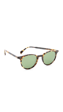 Oliver Peoples Eyewear Delray Sunglasses - Dark Tortoise Brown/Green