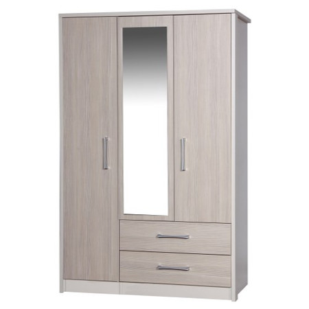 One Call Furniture Avola Premium 3 Door Combi with Mirror in Cream with Champagne