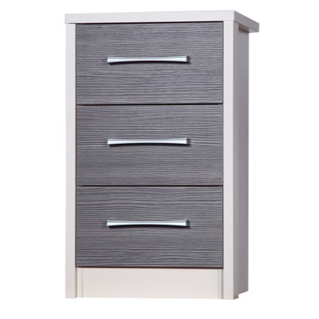 One Call Furniture Avola Premium 3 Drawer Bedside Chest in Cream with Grey