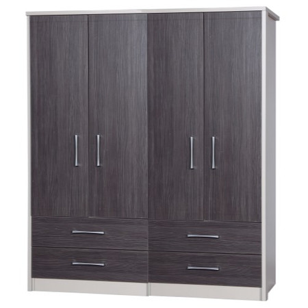 One Call Furniture Avola Premium 4 Door Combi Wardrobe in Cream with Grey