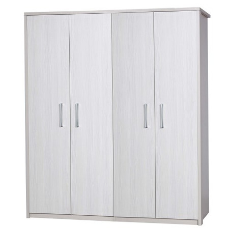 One Call Furniture Avola Premium 4 Door Wardrobe in Cream with White