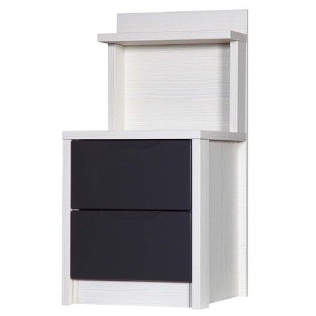 One Call Furniture Avola Premium Plus 2 Drawer Bedside Chest Special in White with Grey Gloss
