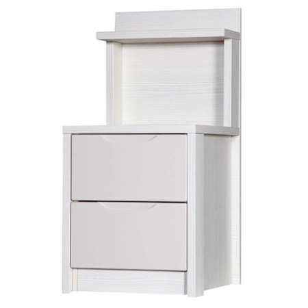 One Call Furniture Avola Premium Plus 2 Drawer Bedside Chest Special in White with Sand Gloss