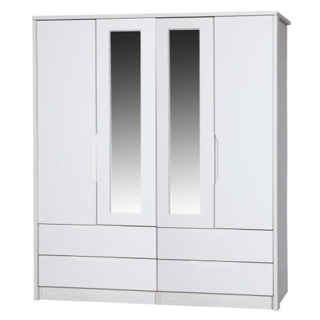 One Call Furniture Avola Premium Plus 4 Door Combi Wardrobe with Mirrors in White with Cream Gloss